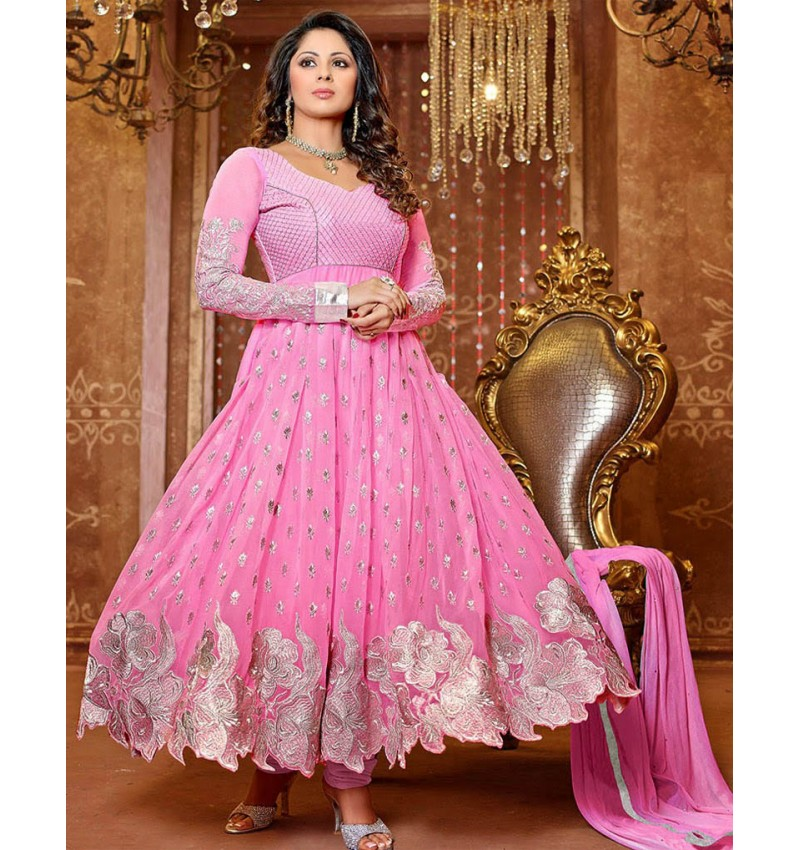 Georgette Floor Length Pink Anarkali Suit – Semi Stitched