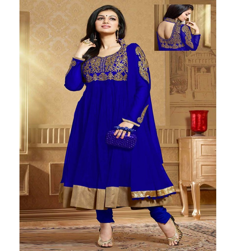 Blue Embroidered Net Anarkali Suit