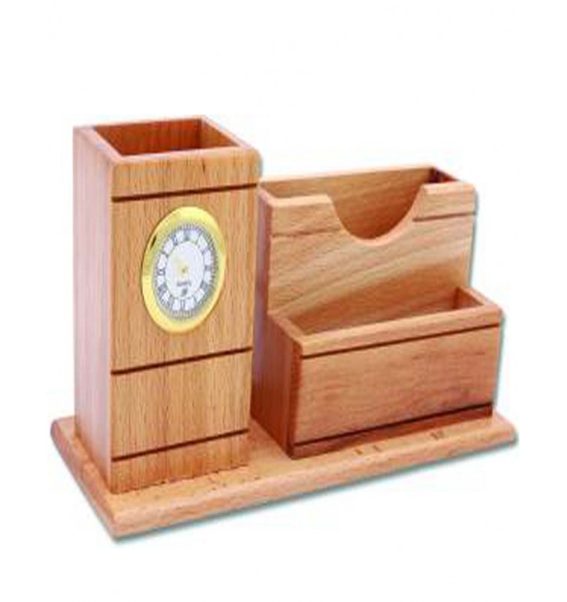 WI-3 Compartments Wooden Pen Stand(Brown)