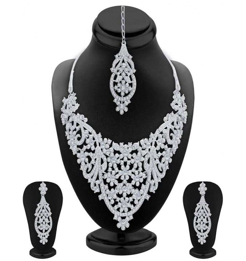 WI-Delightly Rhodium Plated AD Necklace Set For Women