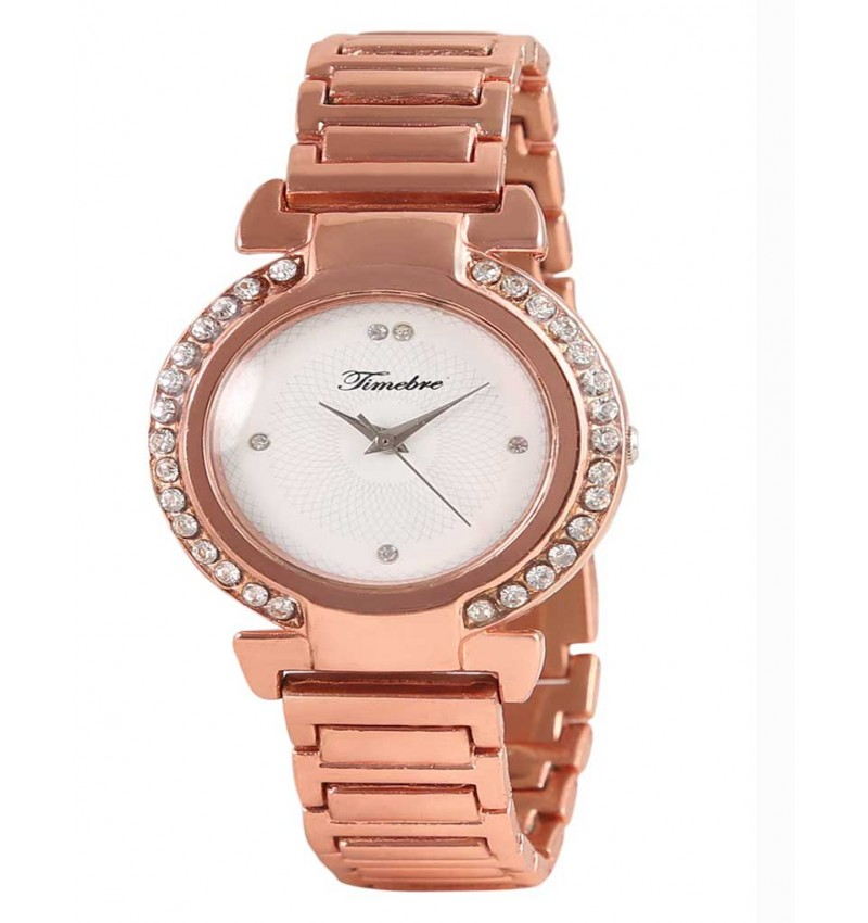 Beauteous Women Rose Gold Diamond Party Watch