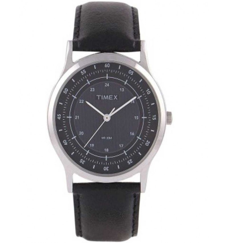 Timex Black Leather Analog Watch - For Men