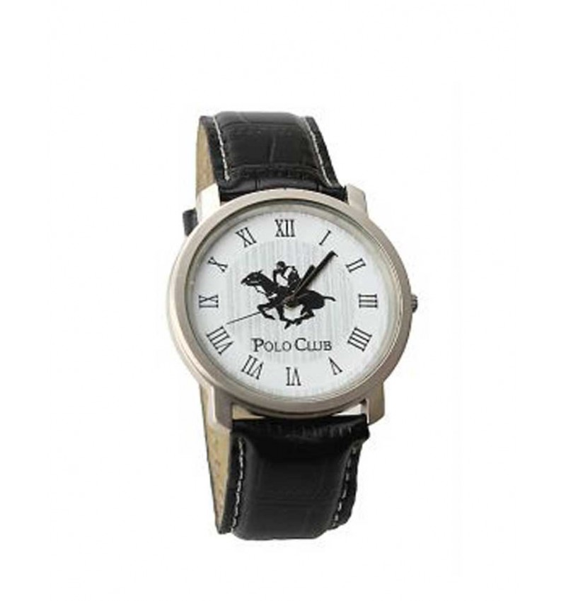 Polo Club Analog Black Leather Watch - Men