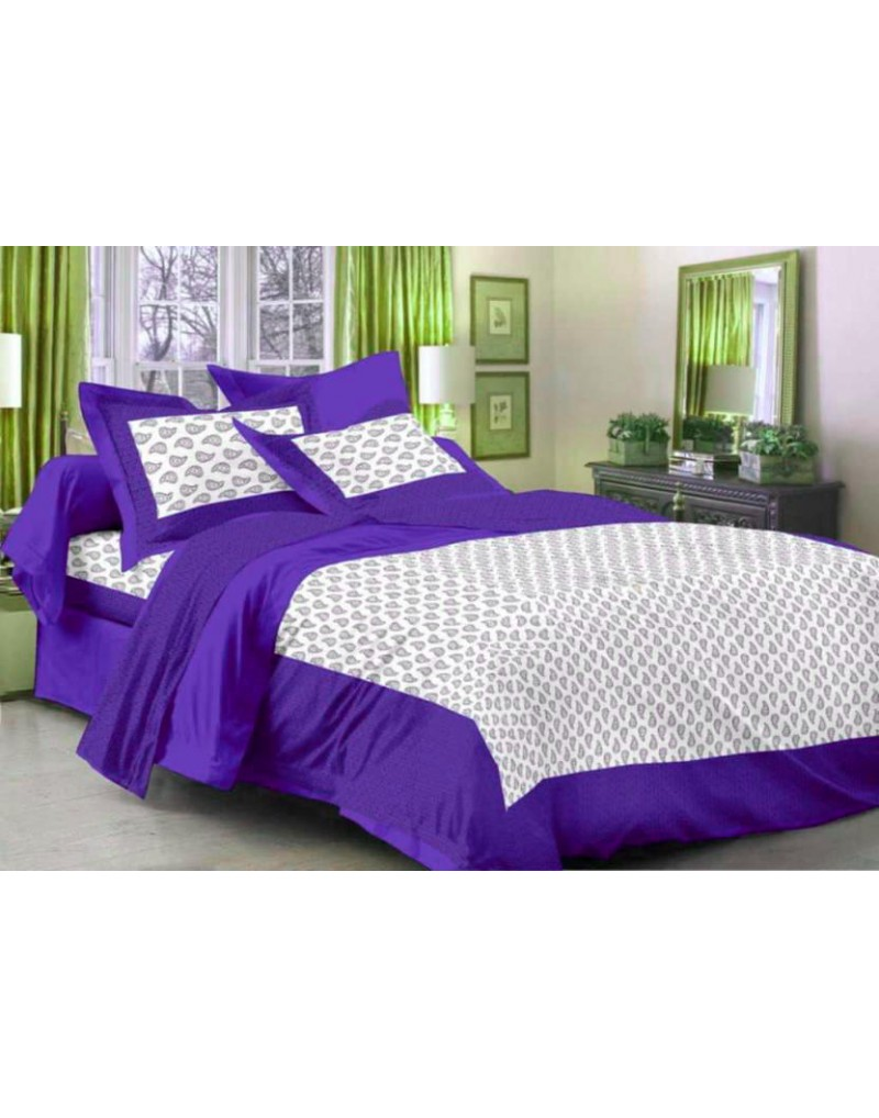 WI- Bombay Cotton Printed Double Bedsheet  (1 Bedsheet, 2 Pillow Cover, Multicolor)