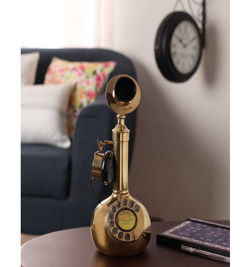 Gold Metal Antique Brass Pot Candle Stick Telephone
