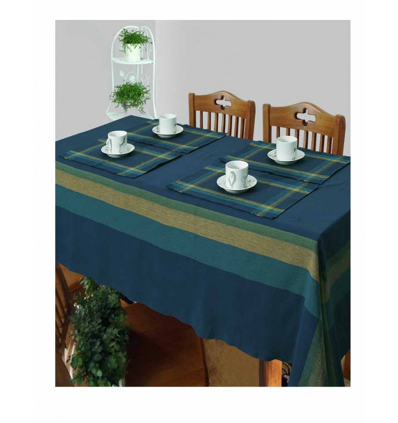 Cotton Woven Table Cover and Placemat Set for 4 Seater