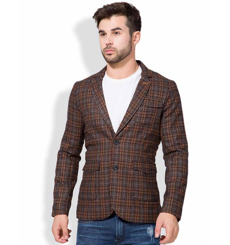 WI-Brown Casual Wear Full Sleeves Chequered Printed Single Breasted Blazer