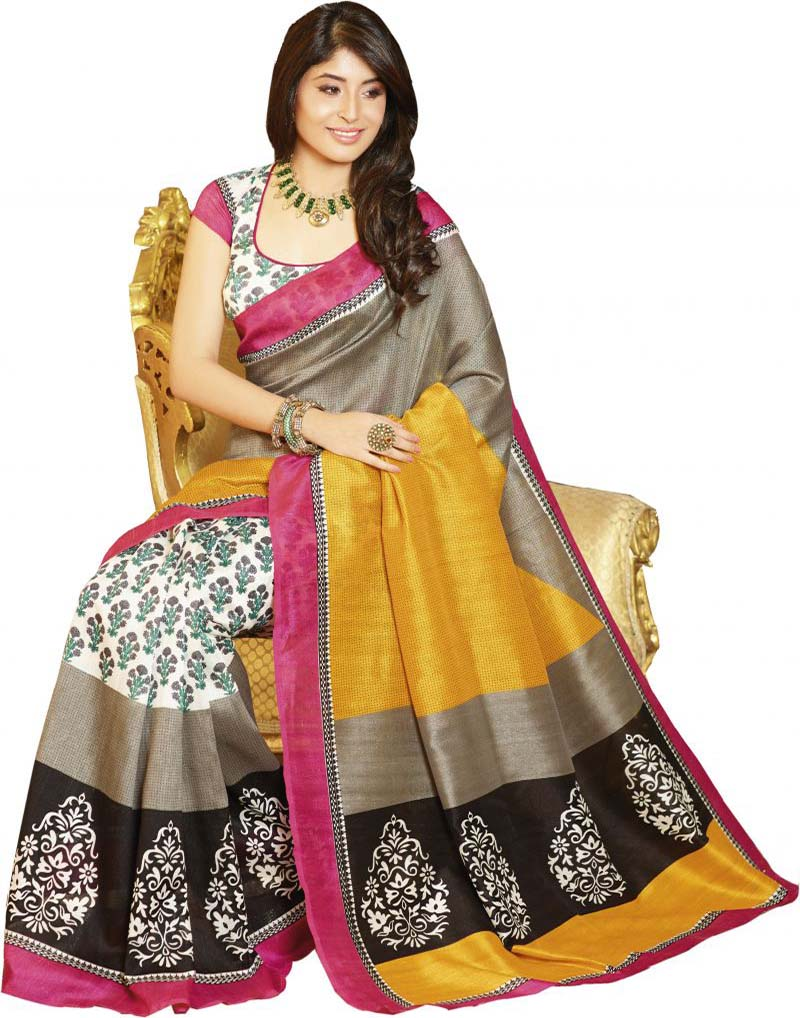 Yellow And Grey Bhagalpuri Saree