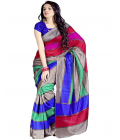 Multi Color Bhagalpuri Saree With Silk Blouse