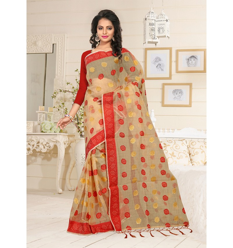 Viva N Diva Beige Colored Tissu Saree.