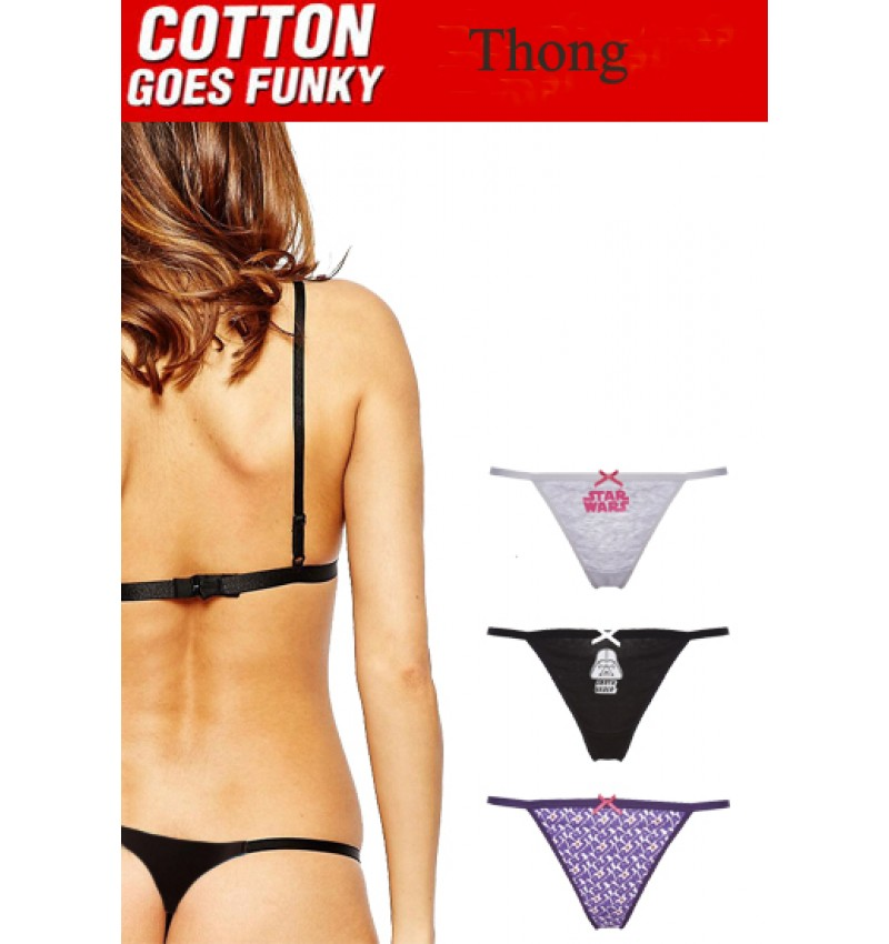 Easy Reliable String Cotton  Thong Pack- 3
