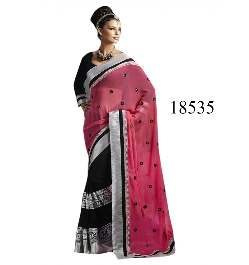Viva N Diva Black Color Pure Georgette Saree.