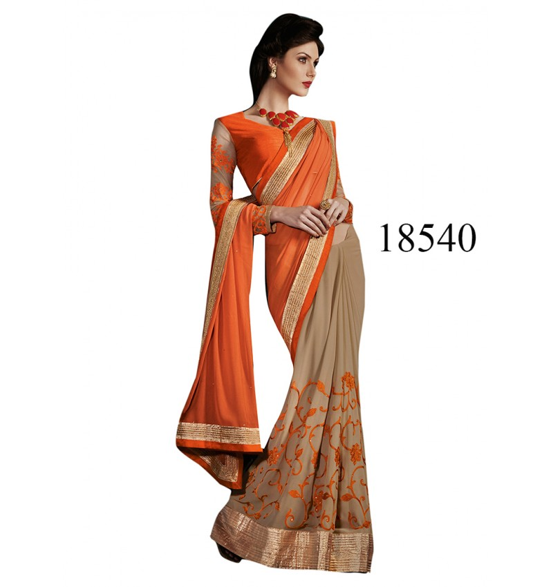 Viva N Diva Beige & Orange Color Georgette Saree.