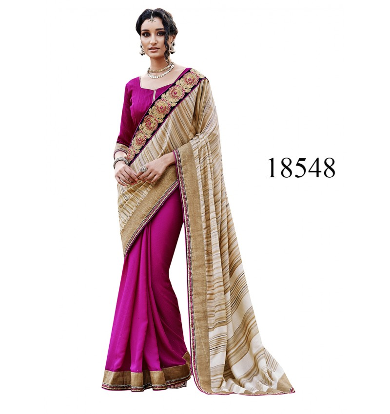 Viva N Diva Beige And Pink Colored Silk And Georgette Saree.