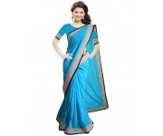 WI-Sky blue color chiffon saree